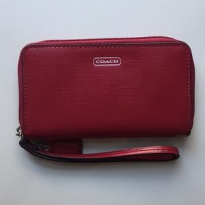 Coach red leather wristlet with zip closure